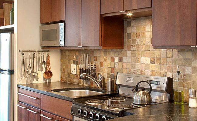 Brown Cabinet Slate Backsplash Tile Mosaic In Case I Can T Afford The Expensive