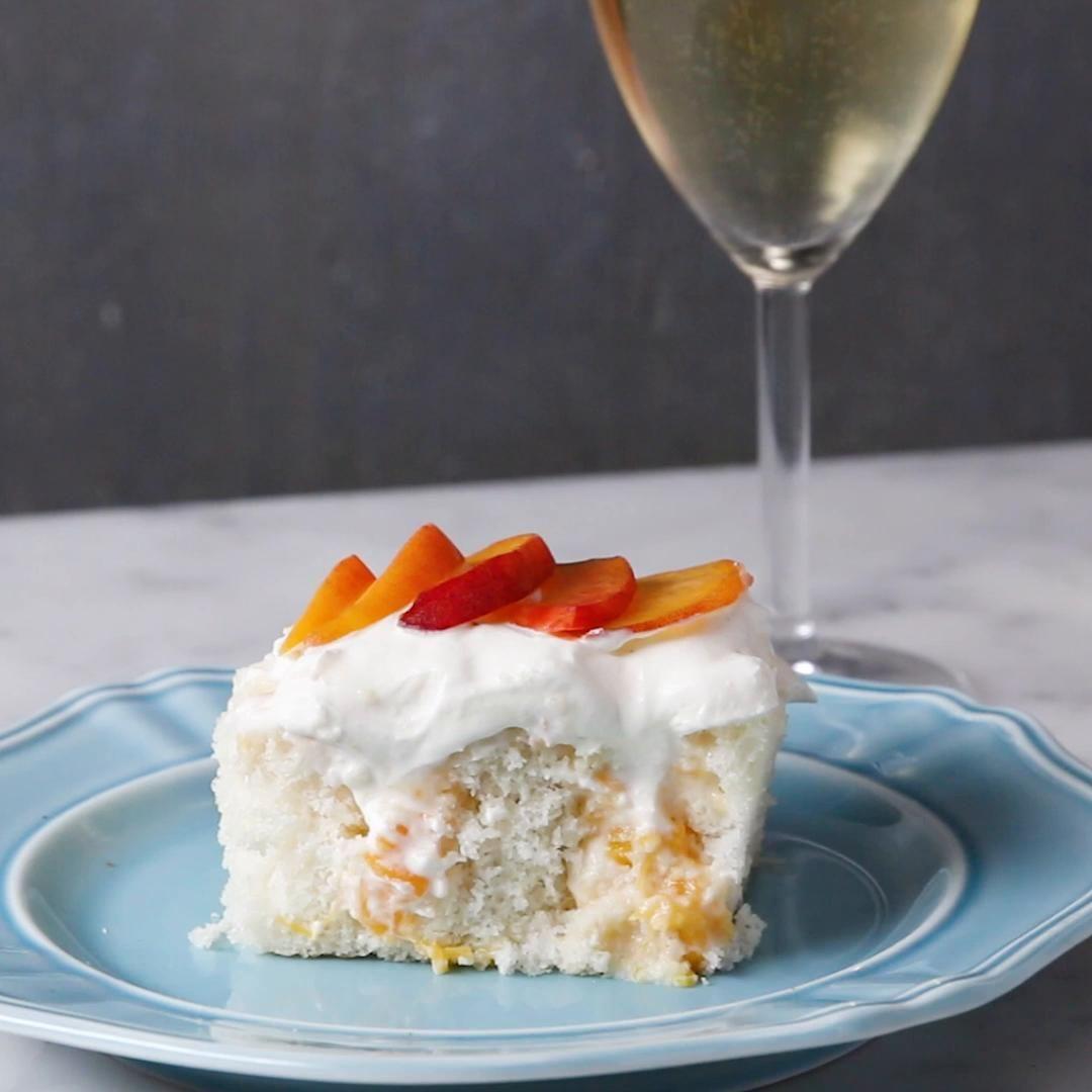 Peaches N Cream Poke Box Cake Recipe By Tasty Recipe Peach Recipe Savoury Cake Tasty