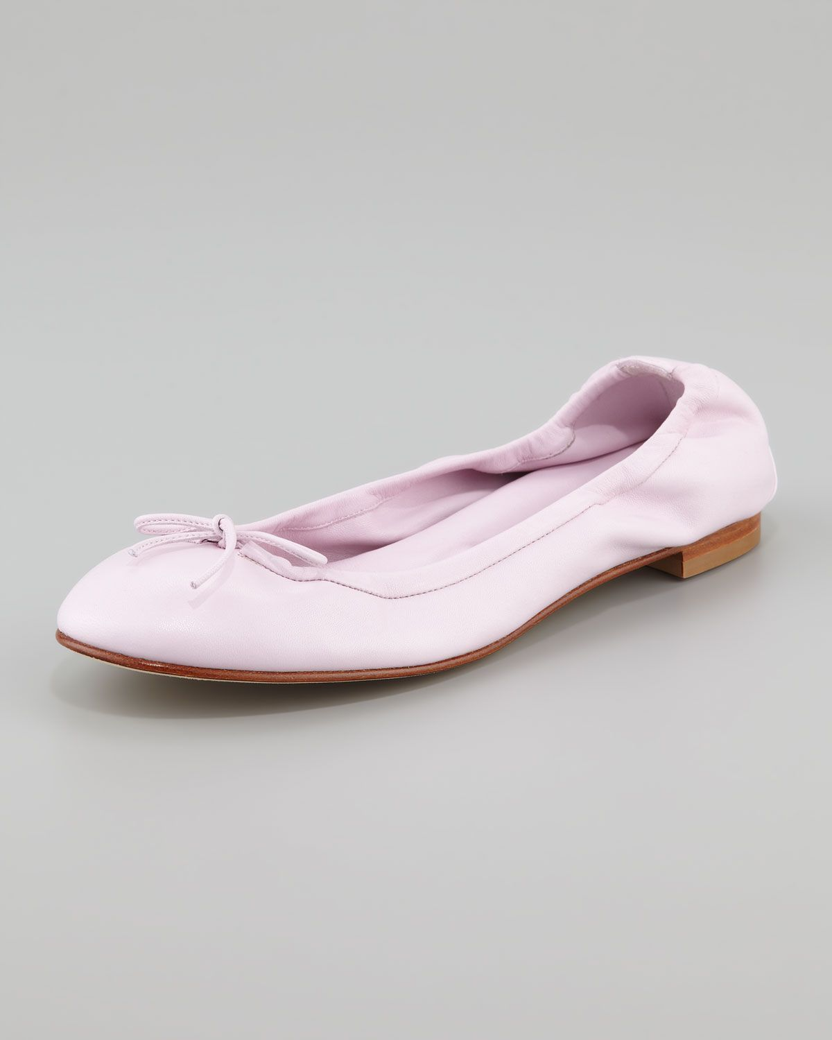 """Tobaly"" ballerina flats in lilac pink with bow from Manolo Blahnik."