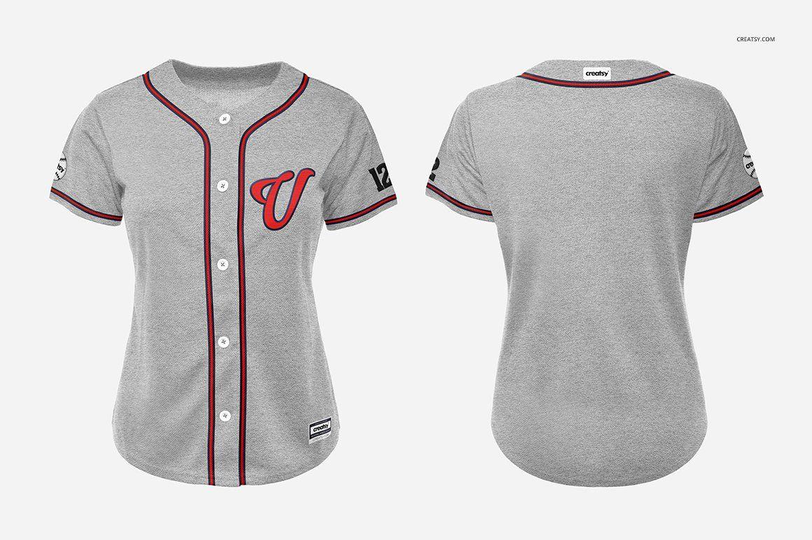 Download Women's Baseball Jersey Mockup Set | Baseball jersey women ...