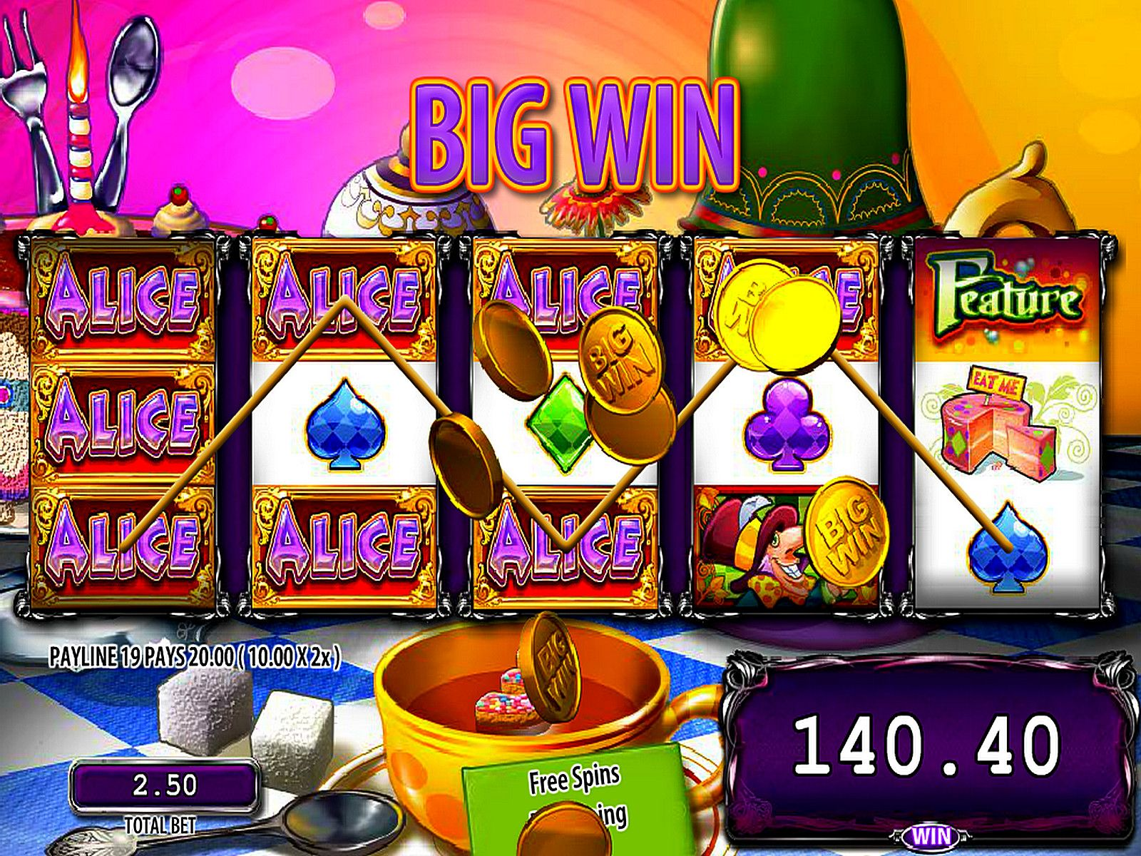 Apr 24, · The Alice and The Mad Tea Party slot machine made by WMS presents a variety of game features.There are many bonus symbols, bright gameplay, charming characters, and, surely, free spins.This gaminator has a pretty generous bonus game.Now you must follow down the rabbit hole where will wait 5-reel video slot with 30 payline.8/10(5).