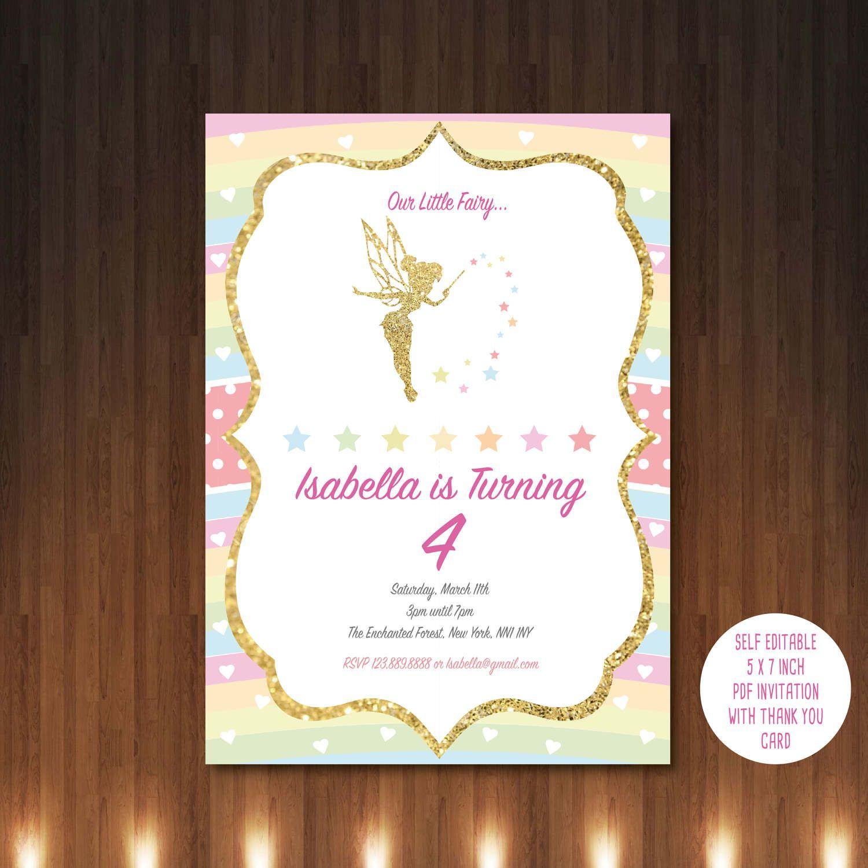 Fairy Invitation, Printable, Customized, DIY invitation