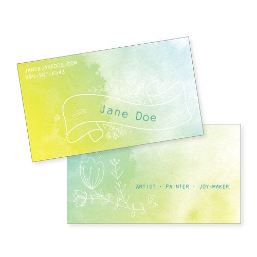 100 custom business cards a splash of color personalized calling 100 custom business cards a splash of color personalized calling cards with doodled flowers and watercolor background reheart Image collections