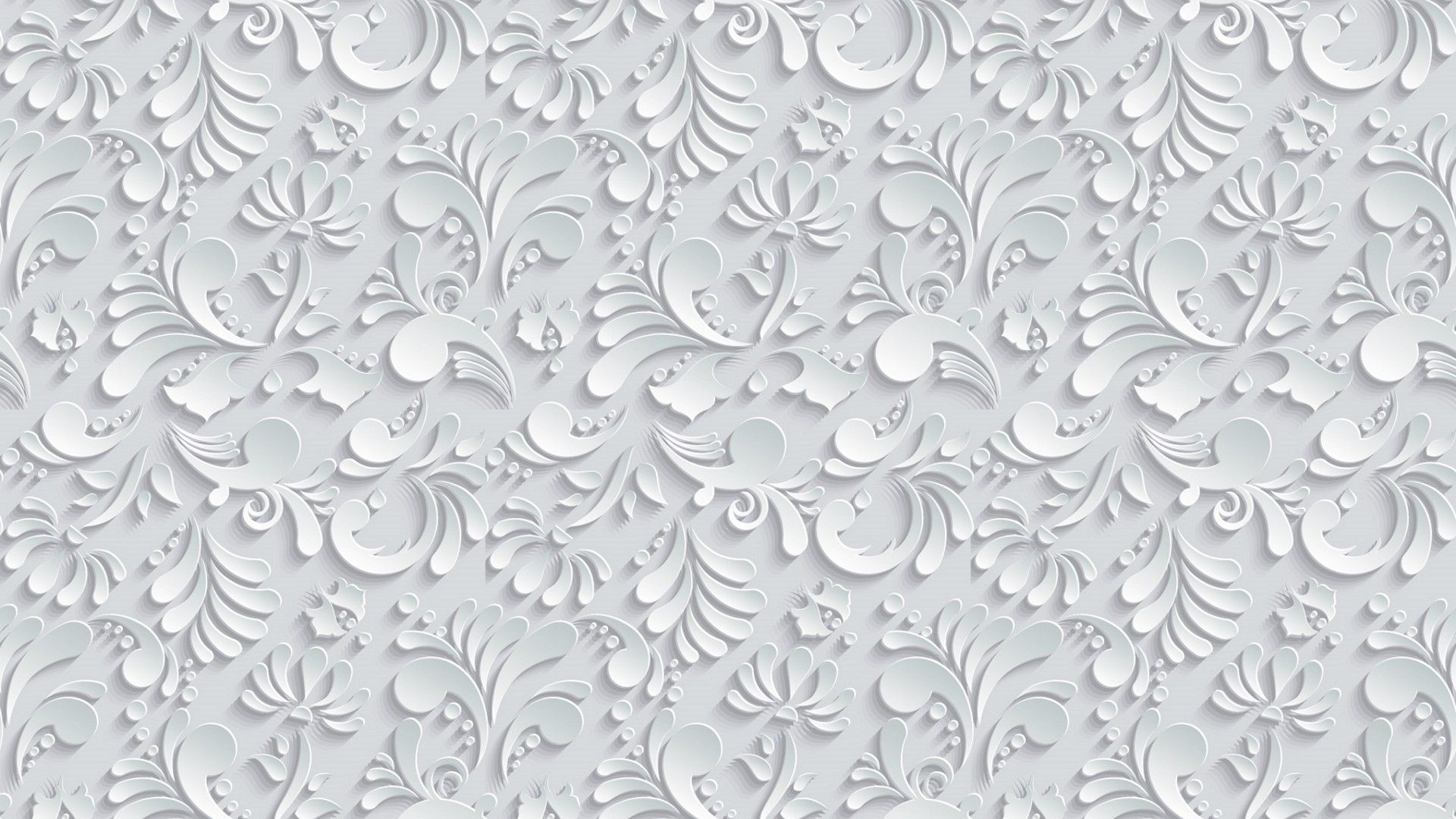 Vector Floral 3d Seamless Pattern on grey background