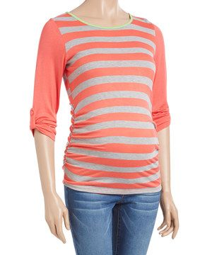Look what I found on #zulily! Mom & Co. Heather Gray & Coral Color Block Maternity Top - Plus Too by Mom & Co. #zulilyfinds