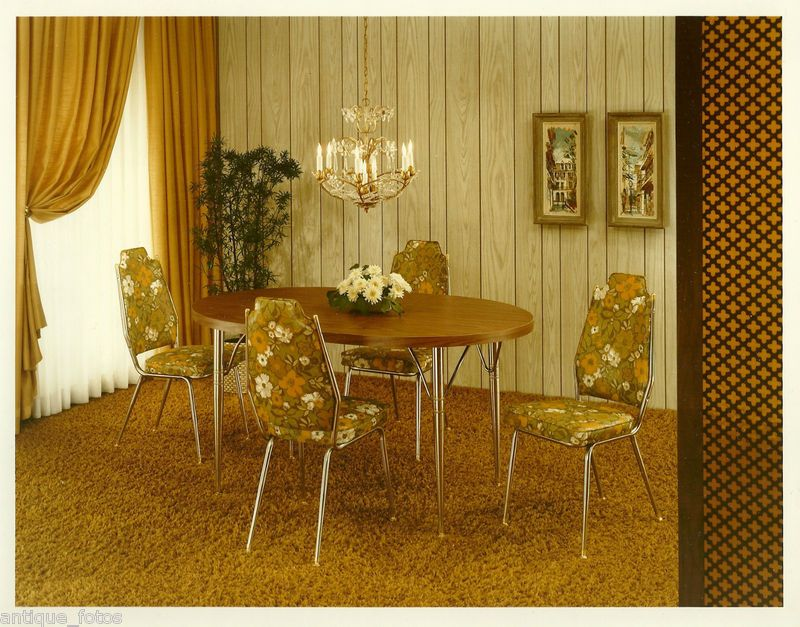 1970 S Vintage Old Photo Floral Dining Room Table Chairs Furniture