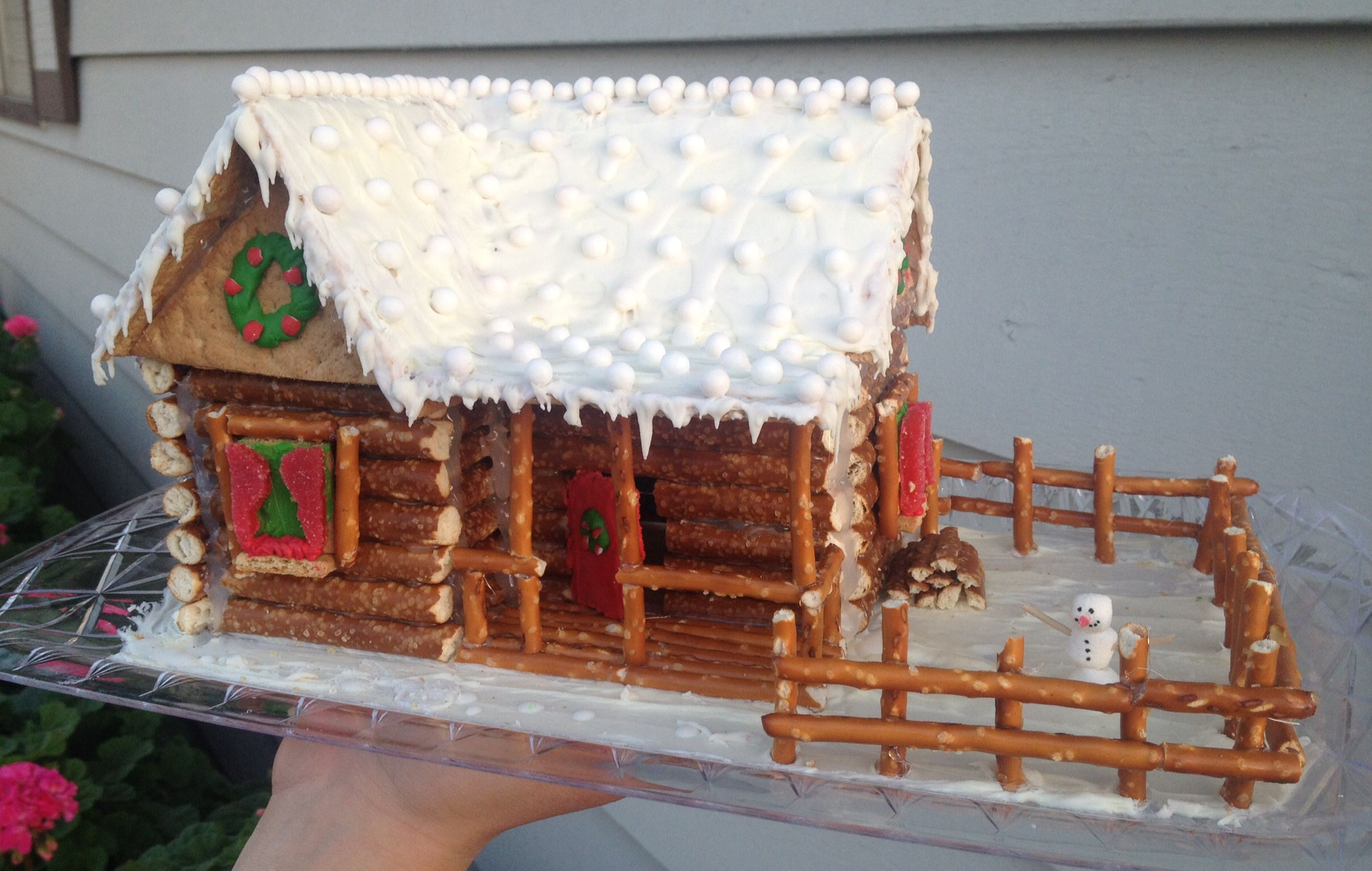 Log Cabin Gingerbread House Complete With Rustic Fence