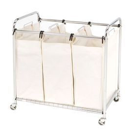 3 Section Laundry Sorter With A Chrome Finished Metal Frame And