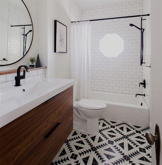 Tiles, black + round mirror   bathroom #BathroomRenovations