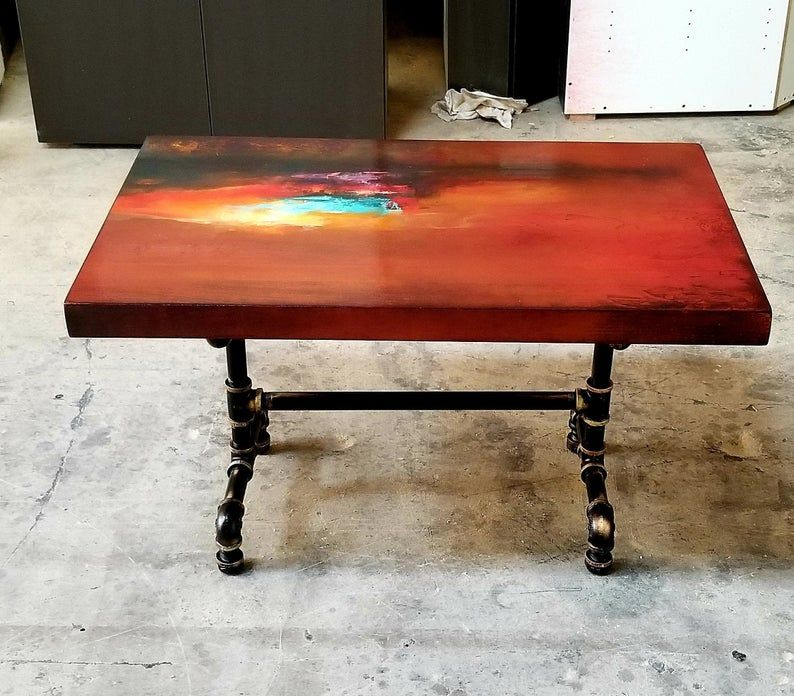 Burnt orange coffee table art deco side table cocktail