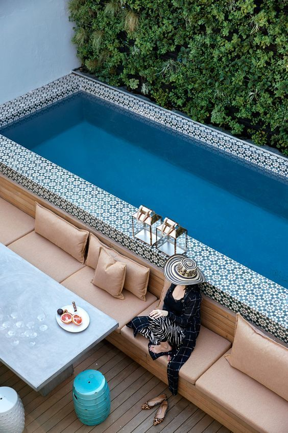 A Bold Moroccan Tile Clad Pool In Small Courtyard