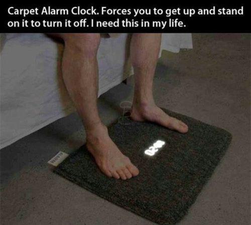 alarm clock on floor