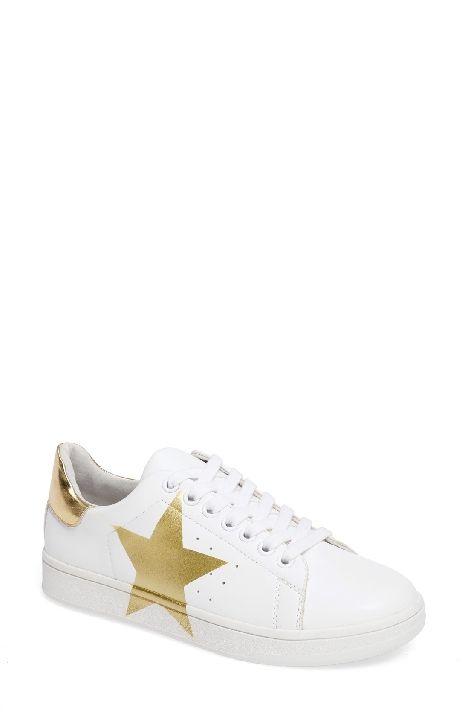 new white steve madden sneaker with gold star