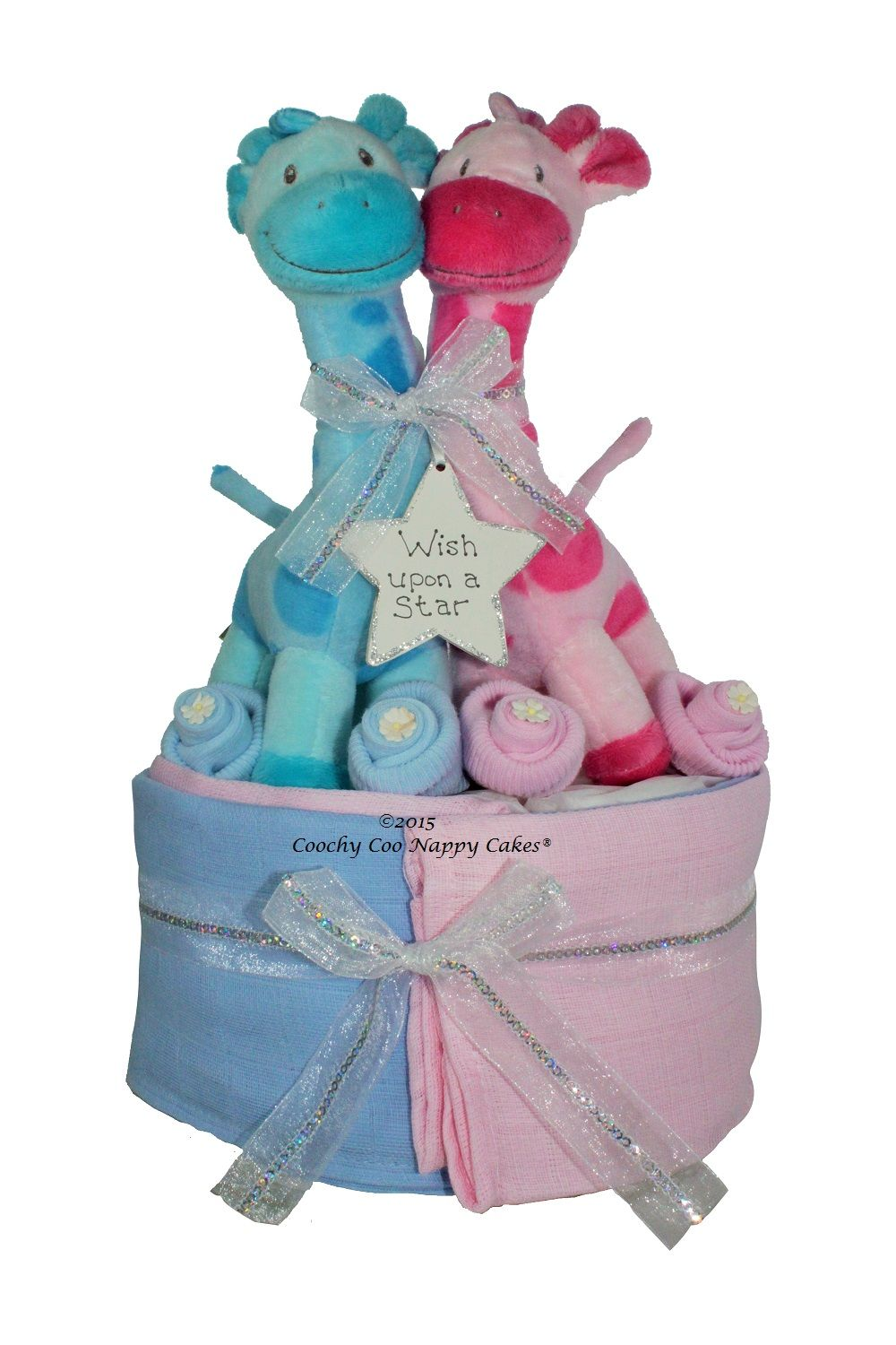 Twin baby boy and girl nappy cake baby shower gift uk art twin baby boy and girl nappy cake baby shower gift uk negle Gallery