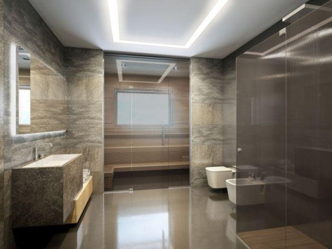 Modernes Bad Fliesen Naturstein Optik Sauna Begehbare Dusche