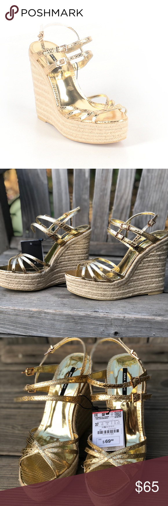 872165a6c4a Zara Basic gold strappy platform espadrille wedges Lovely & sultry ...
