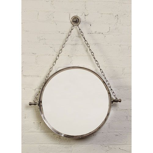 Bathroom Mirrors Polished Nickel prima polished nickel mirror on chain | polished nickel, round