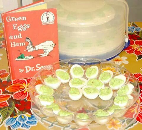 Green deviled eggs for the classic green eggs and ham