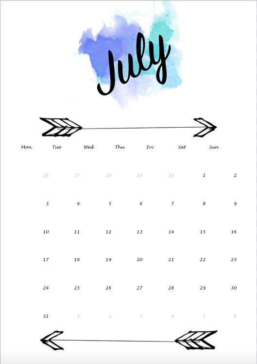 Self Made Calendar 2018 : Calendar blue july juli water color watercolor