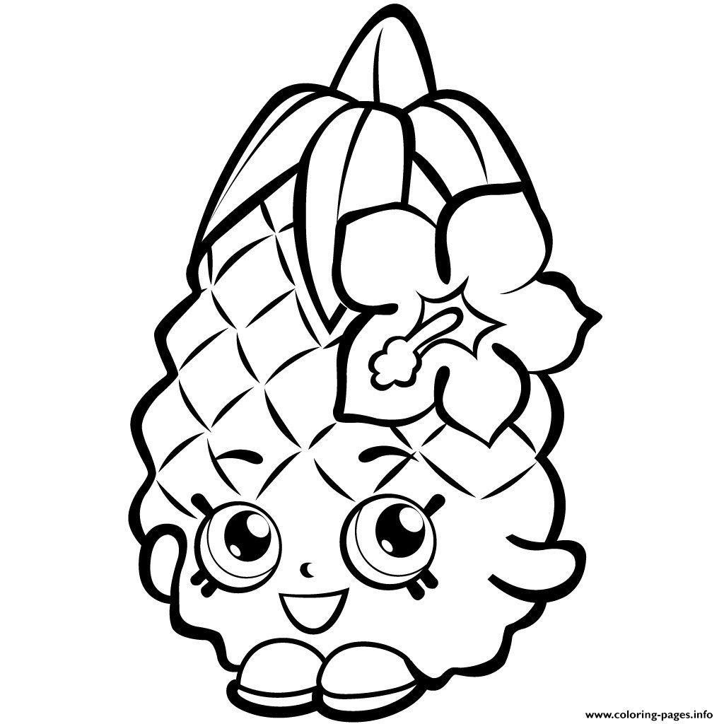 Fruit Coloring Pages Fruit Pineapple Shopkins Season 1 Coloring