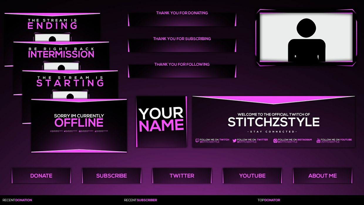 Pink and Black twitch rebrand template pack, beautiful