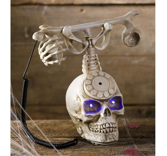 Halloween Skull Prop Indoor Creepy Scary Party Haunted House Phone - skull halloween decorations