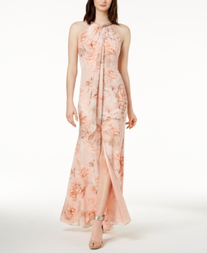 Calvin Klein Floral Draped Chiffon Halter Gown Pink 4 Products