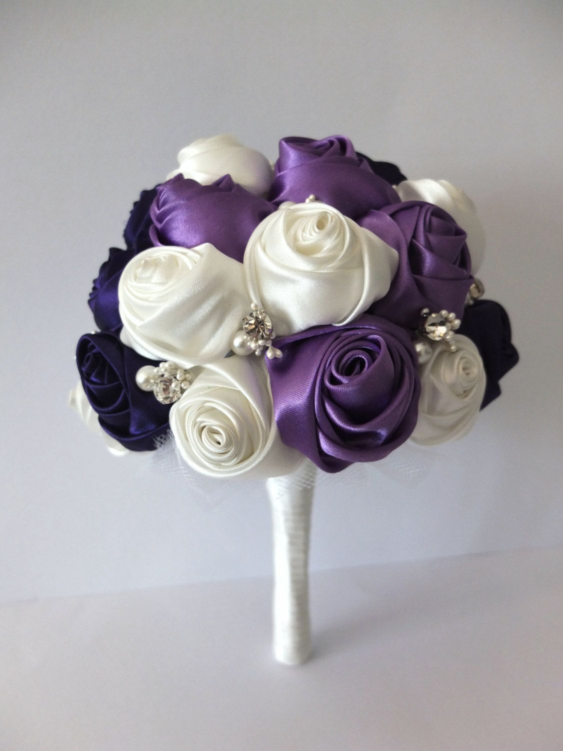 Handmade Satin Rose Bouquet- Purple & Ivory Flower accented with ...