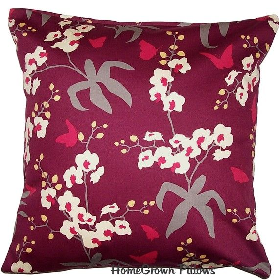 SET OF TWO, 16x16 Pillow Covers, Handmade Throw Pillow Covers, Removable Cover, Joel Dewberry Home Decor Fabric, Ginseng Orchid in Mulberry