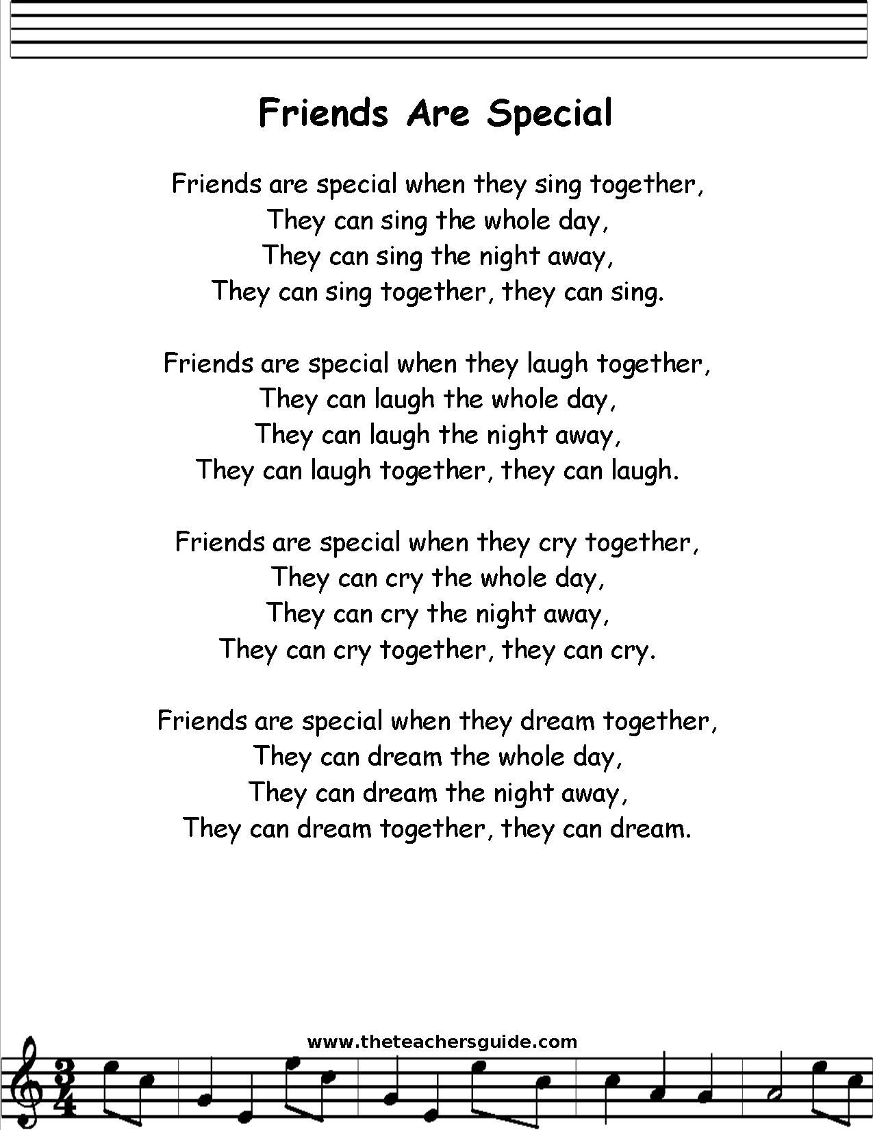 Friend Are Special Lyric Printout Midi And Video Song Lyrics Teaching Paraphrasing With