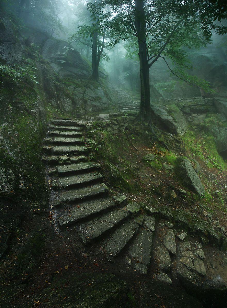 Stairs up to Chojnik castle, near Sobieszów in Poland. Photograph by Karol Nienartowicz.