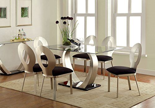 Furniture Of America Alvados Rectangular Glass Top Dining Table Bring Contemporary Sophistication T Stainless Steel Dining Table Dining Room Sets Dining Table
