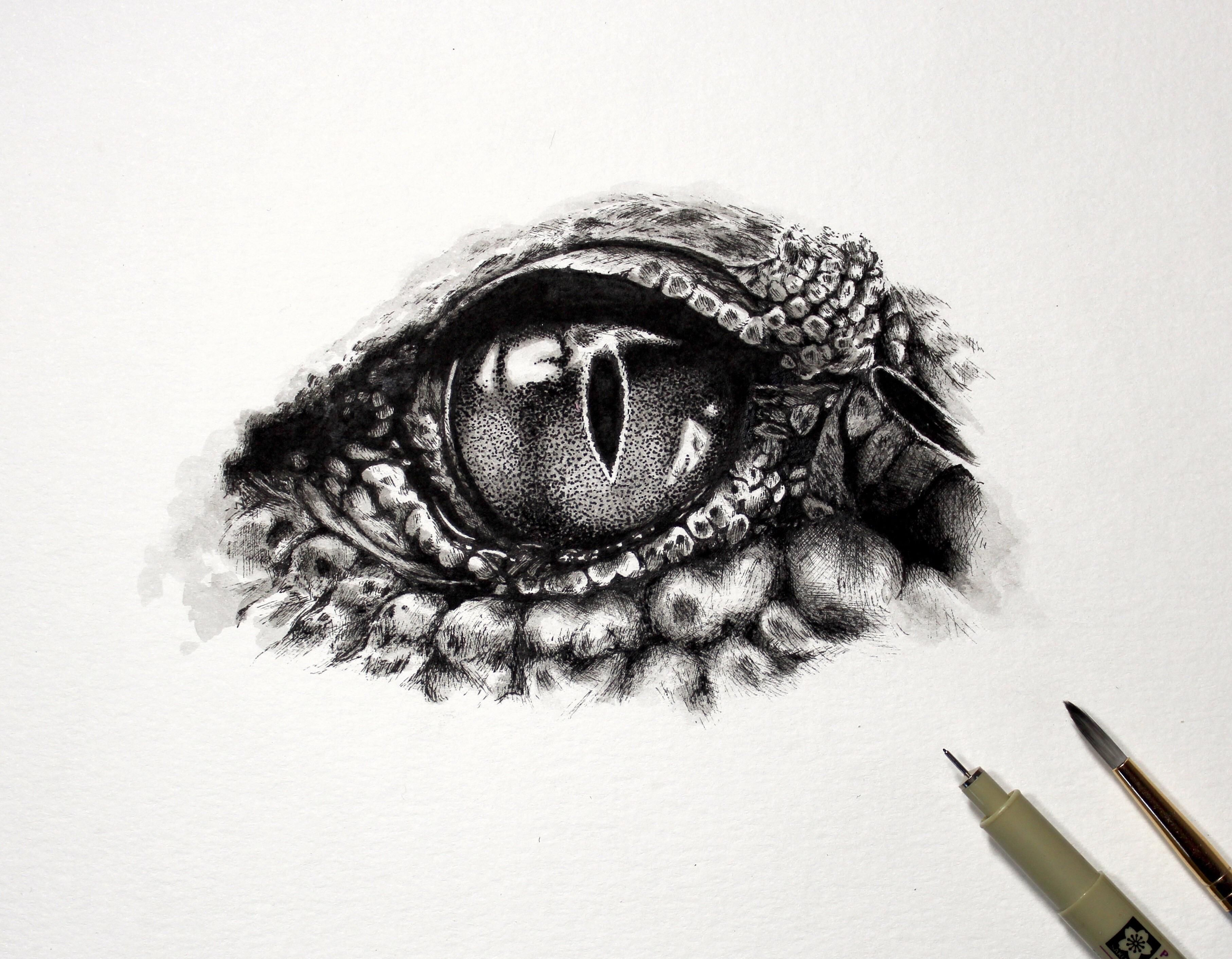 Crocodile eye with .005 micron pen and watercolor for
