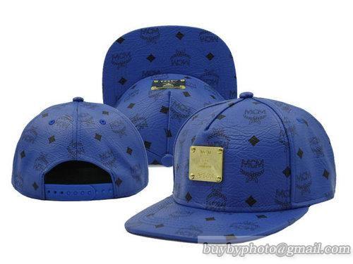Cheap Wholesale MCM Adjustable Snapback Hats Flat Bill Hats Blue 6 for slae  at US 8.90 4c391d67e9d