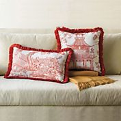 Linen Chinoiserie Pillows, Red | Gump's