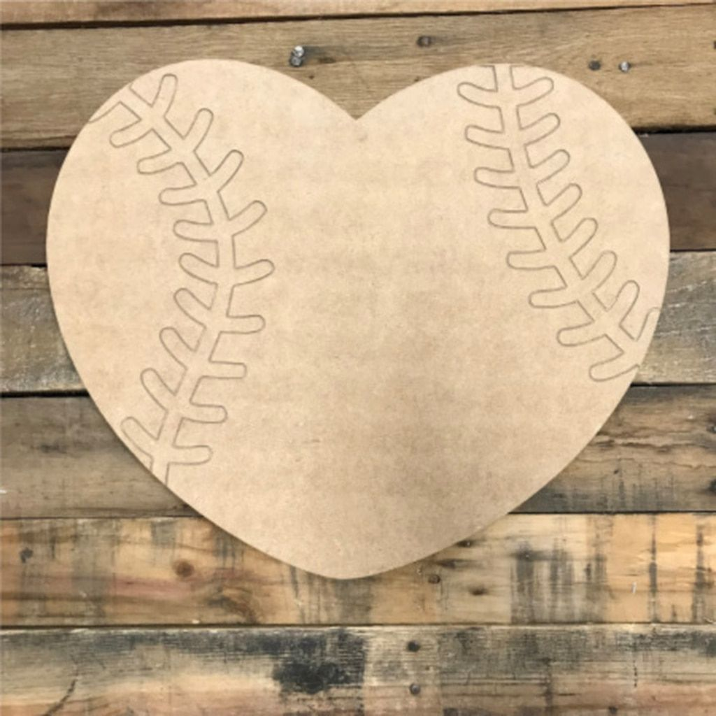 Baseball Heart Unfinished Wooden Cutout Craft Paint By Line In 2020 Wooden Hearts Crafts Wooden Cutouts Wooden Hearts Diy