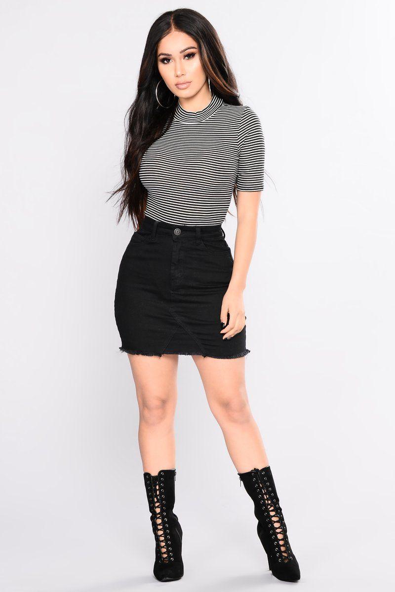 6b4075e3491 Ahead Of Yourself Stripe Bodysuit - Black  Soft White