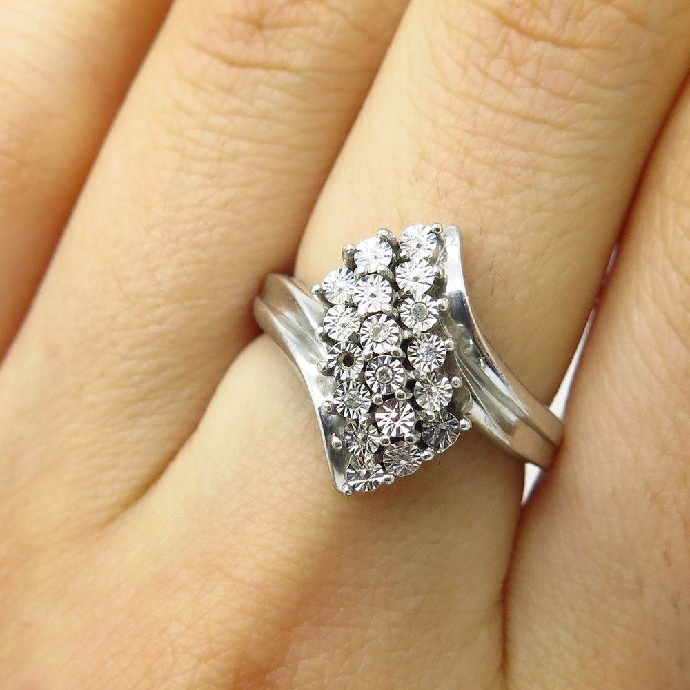 Details about Signed 925 Sterling Silver Real Diamond Bypass