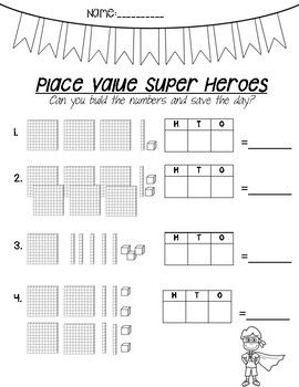 Place Value Heroes Worksheets Reading Base Ten Block Numbers In The Thousands And Hundreds Using A Special Education Math Place Values Teaching Place Values