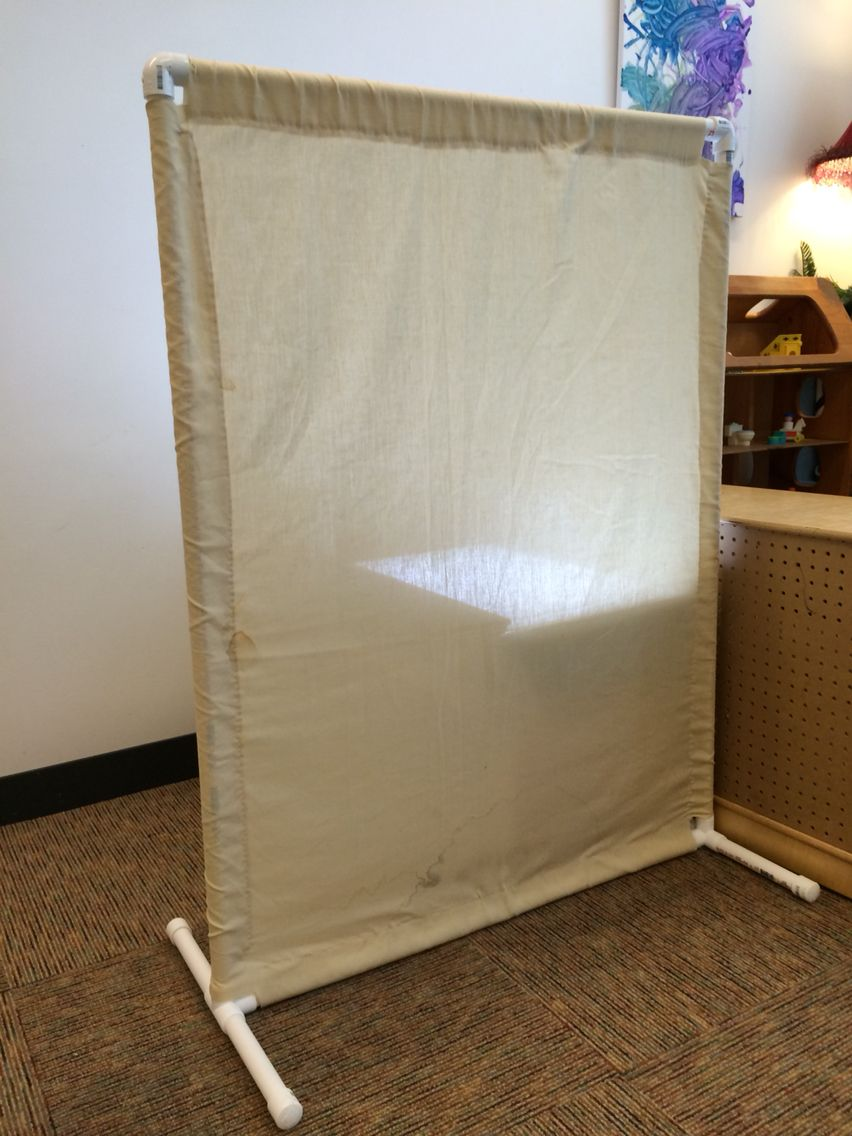 Pvc and old sheet room divider 4 39 x3 39 josh baxter 39 s for Pvc pipe classroom dividers