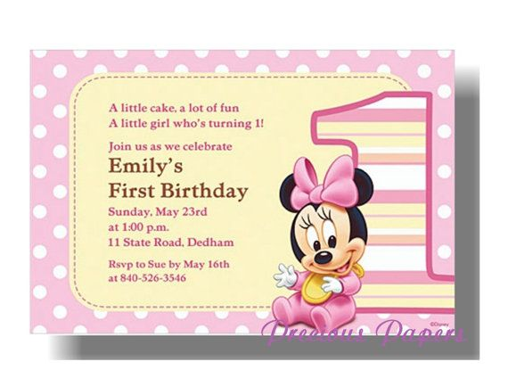PRINTED Minnie Mouse 1st First Birthday Invitations On Etsy 1890