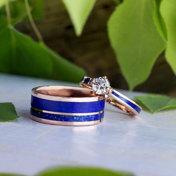 Lapis Lazuli Wedding Ring Set Matching Rose Gold Wedding Band Set