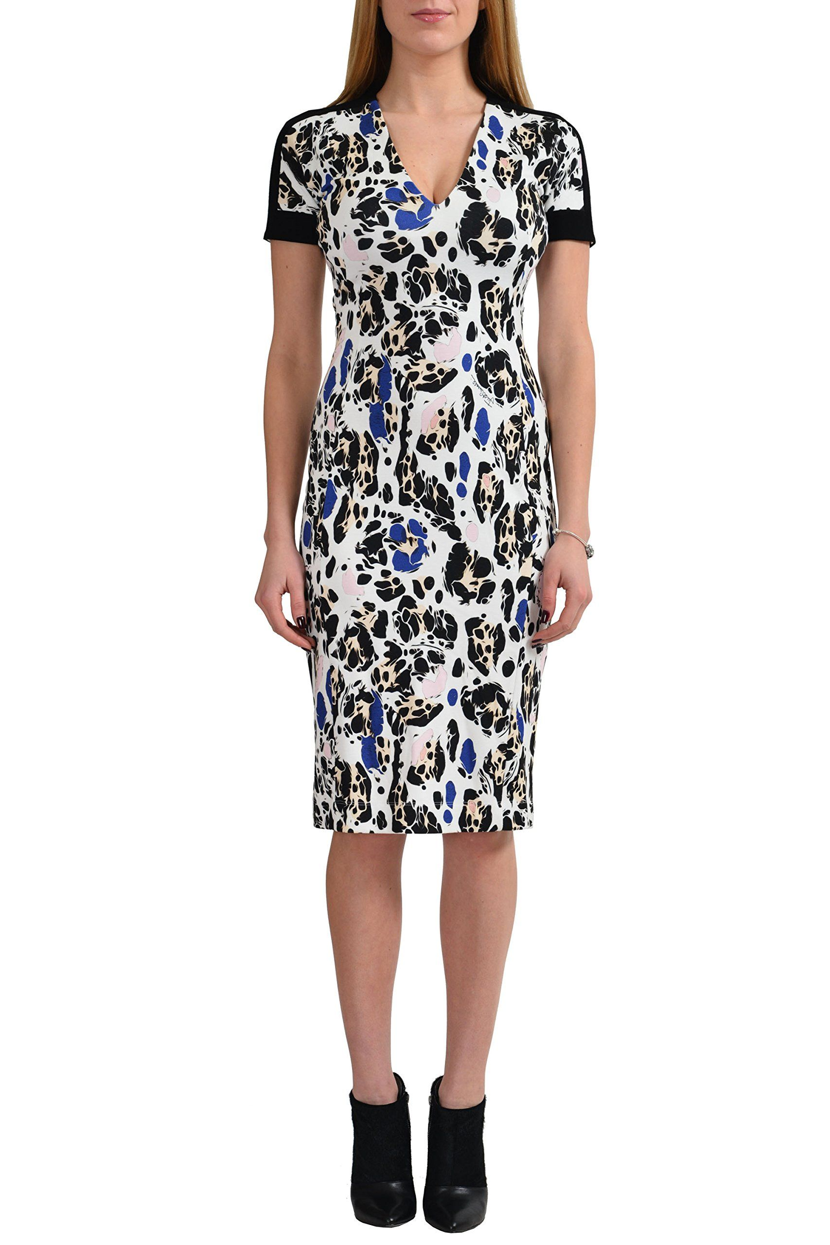 """Just Cavalli Women's Multi-Color Short Sleeve Bodycon Dress US US 4 IT 40. Material: 93% Rayon 7% Spandex. Made in Italy. Bust: 14"""". Length: 40""""."""