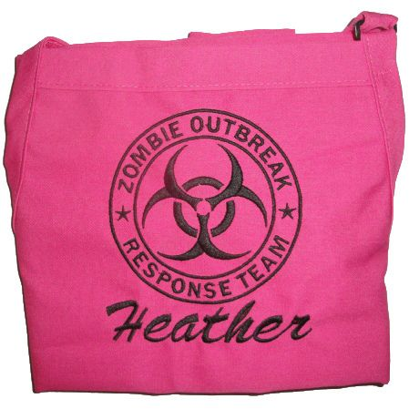 Hot pink Zombie apron, for staying clean while fighting the undead.