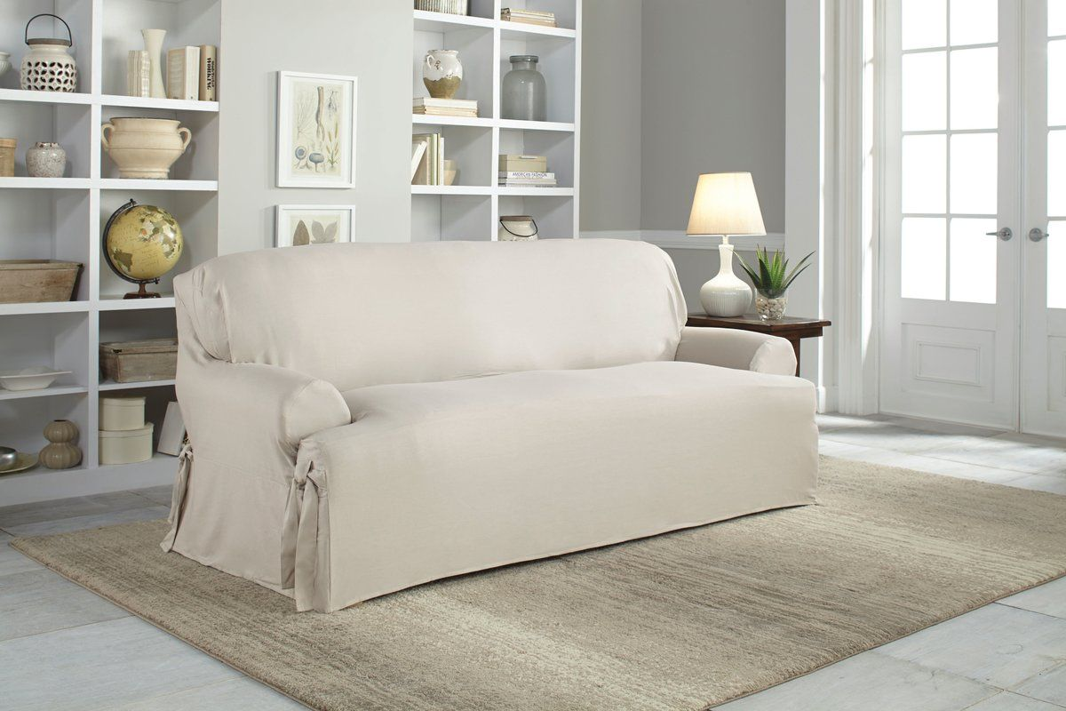 Cotton Duck T Cushion Sofa Slipcover Furniture Slipcovers Slipcovered Sofa Cushions On Sofa