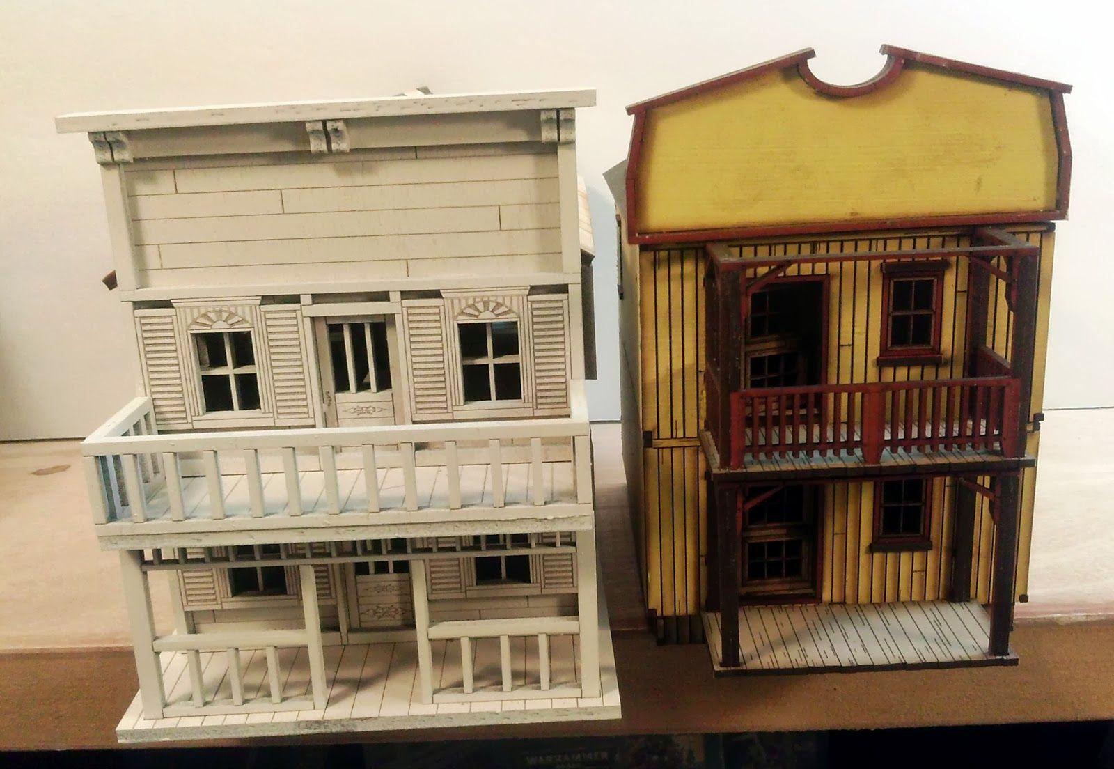 28mm Laser Cut Western Buildings Side by Side Comparison