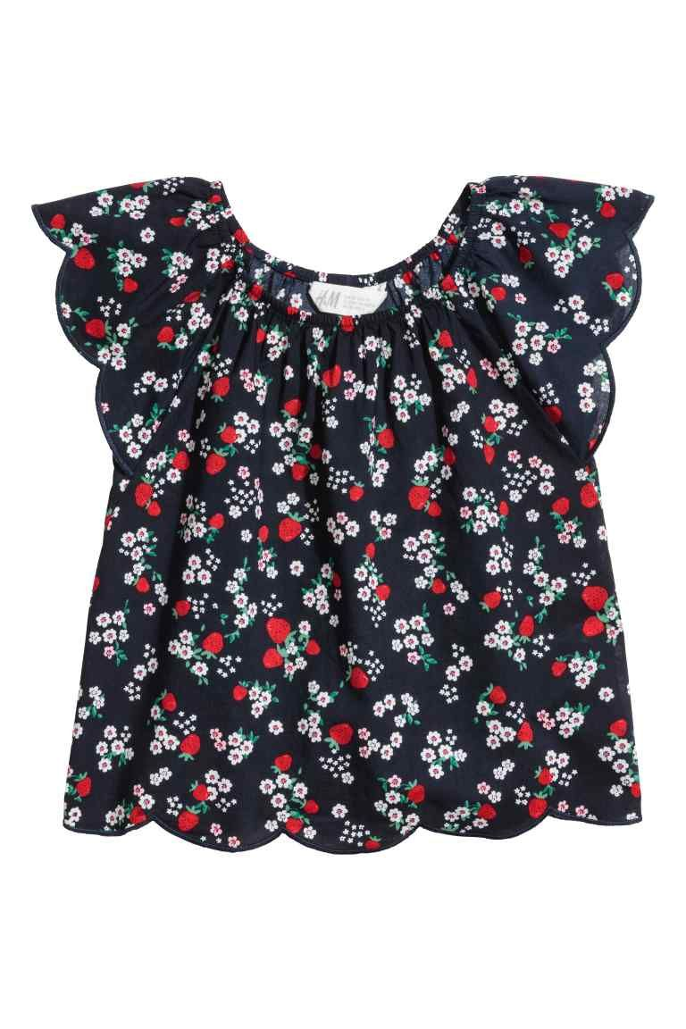 42ef20f91 Blouse with butterfly sleeves - Dark blue/Strawberries - Kids | H&M GB