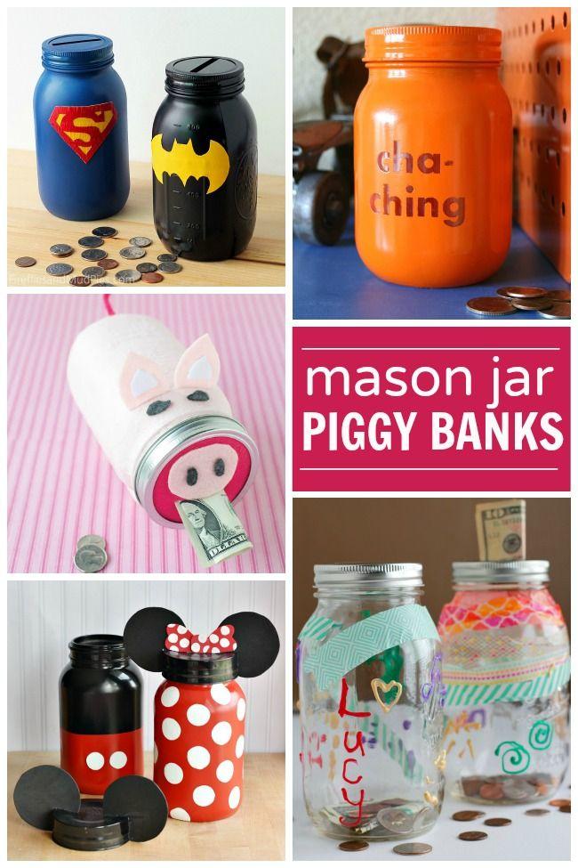 Mason jar piggy banks for kids altered art pinterest for Diy piggy bank