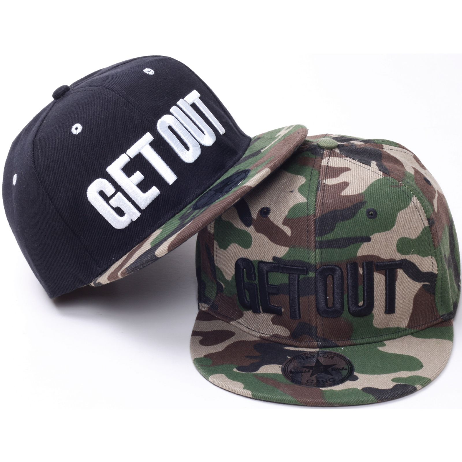 H45 Lettering Embroidery Camo Army Style Hiphop Bill Snapback Flat