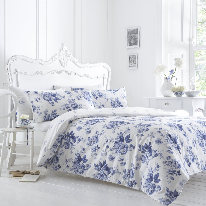 Vantona Marie Floral Design Duvet Cover Set Blue And White